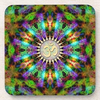 Gem Mandala Golden Aum Spiritual Art : Set of Six Coaster