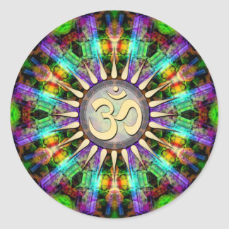Gem Mandala Golden Aum Spiritual Art Sticker