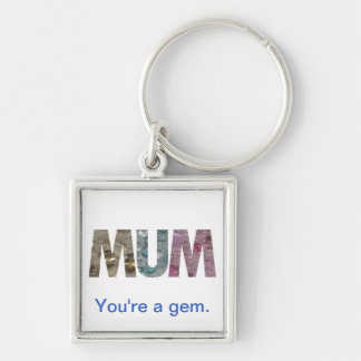 Gem Mum Silver-Colored Square Key Ring