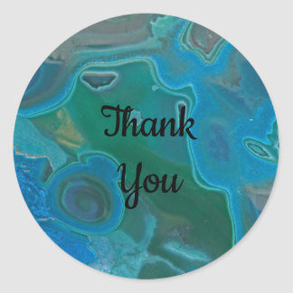 Gem Stone Crystal Blue Thank You Appreciation Classic Round Sticker