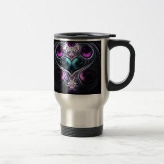 Gem Stone Heart Fractal Travel Mugs