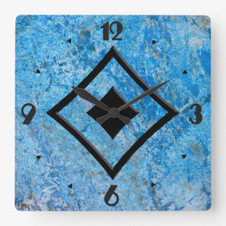 Gem Stone Pattern, Blue Granite & Black Onyx Wallclocks