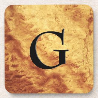 Gem Stone Pattern, Gold Tiger Eye & Black Onyx Beverage Coaster