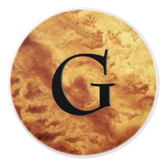Gem Stone Pattern, Gold Tiger Eye & Black Onyx Ceramic Knob