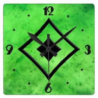 Gem Stone Pattern, Lime Green Jade & Black Onyx Square Wall Clock