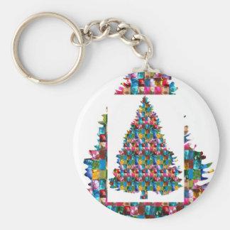 GEM studded XMAS Tree :  Merry Christmas Keychains