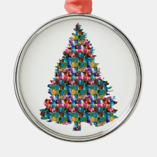 GEM studded XMAS Tree :  Merry Christmas Metal Ornament