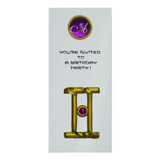 GEMINI ALEXANDRITE MONOGRAM,amethyst bright yellow 10 Cm X 24 Cm Invitation Card
