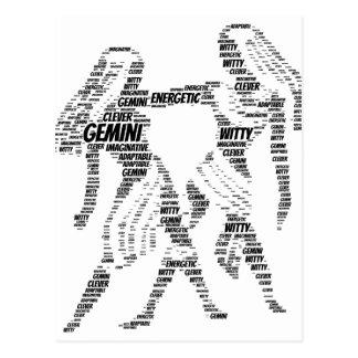 Gemini Astrology Zodiac Sign Word Cloud Postcard