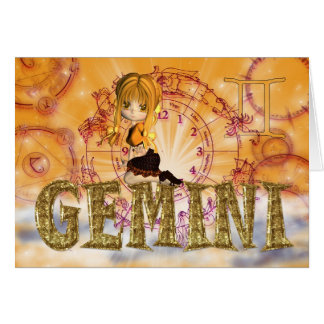 Gemini Birthday Card cute