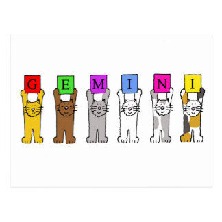 Gemini Birthday cartoon cats. Postcard