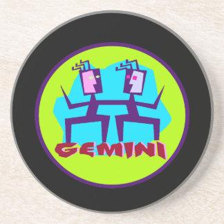 Gemini Cartoon Zodiac Astrology design Coaster