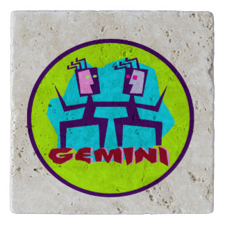 Gemini Cartoon Zodiac Astrology design Trivet