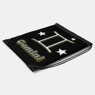 Gemini chrome symbol drawstring bag
