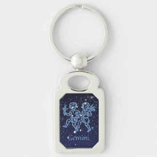 Gemini Constellation and Zodiac Sign with Stars Silver-Colored Rectangle Key Ring
