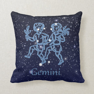 Gemini Constellation and Zodiac Sign with Stars Throw Pillow