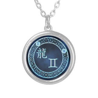 Gemini/Dragon Silver Plated Necklace
