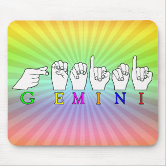 GEMINI FINGERSPELLED ASL NAME ZODIAC SIGN MOUSE PAD