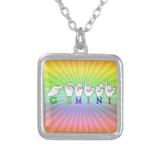 GEMINI FINGERSPELLED ASL NAME ZODIAC SIGN SILVER PLATED NECKLACE