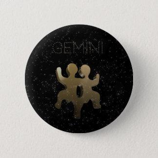 Gemini golden sign 6 cm round badge