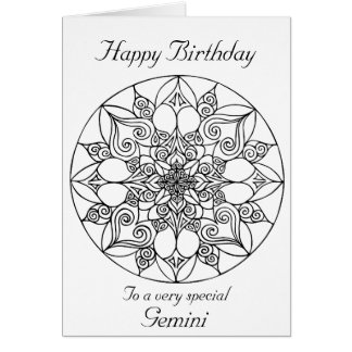 Gemini Mandala: Color your own Birthday Card