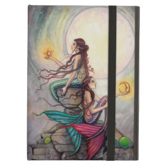 Gemini Mermaid Fantasy Art Watercolor Illustration Cover For iPad Air