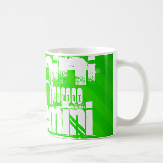 Gemini; Neon Green Stripes Basic White Mug