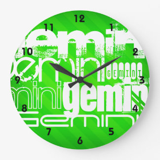 Gemini; Neon Green Stripes Wallclocks