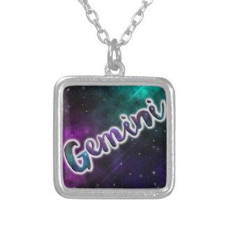 Gemini Silver Square Necklace