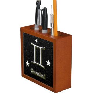 Gemini symbol desk organiser