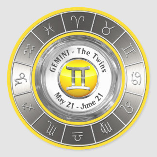 Gemini - The Twins Astrological Symbol Classic Round Sticker