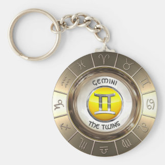 GEMINI - The Twins' Astrological Symbol Key Ring