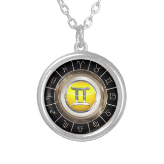Gemini - The Twins Astrological Symbol Silver Plated Necklace