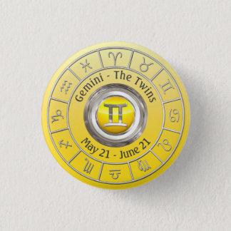 Gemini- The Twins Zodiac Sign 3 Cm Round Badge