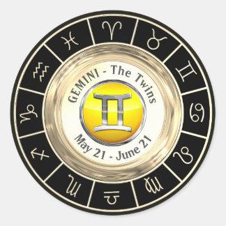 Gemini - The Twins Zodiac Sign Classic Round Sticker