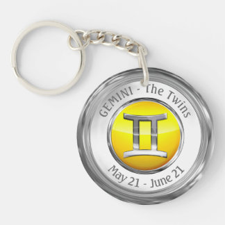 Gemini - The Twins Zodiac Sign Key Ring