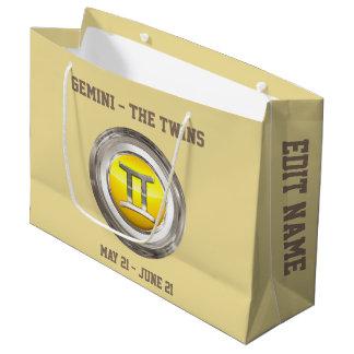 Gemini - The Twins Zodiac Sign Large Gift Bag