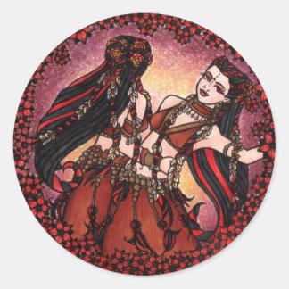 Gemini Tribal belly dancers Classic Round Sticker