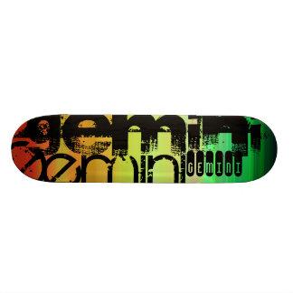 Gemini; Vibrant Green, Orange, & Yellow Skateboard Deck