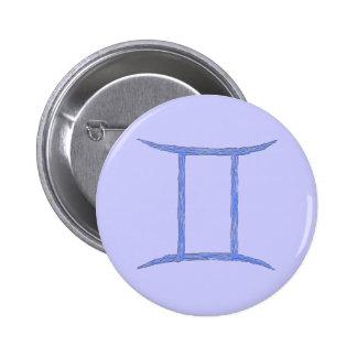 Gemini Zodiac Astrological Sign Blue Button
