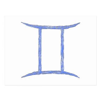 Gemini. Zodiac Astrological Sign. Blue. Postcard