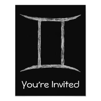 Gemini. Zodiac Astrology Sign. Black. 11 Cm X 14 Cm Invitation Card