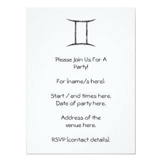 Gemini. Zodiac Astrology Sign. Black. 17 Cm X 22 Cm Invitation Card