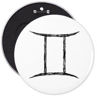 Gemini Zodiac Astrology Sign Black Buttons