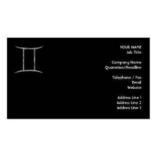 Gemini. Zodiac Astrology Sign. Black. Pack Of Standard Business Cards