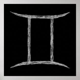 Gemini. Zodiac Astrology Sign. Black. Poster