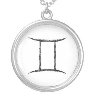 Gemini. Zodiac Astrology Sign. Black. Round Pendant Necklace
