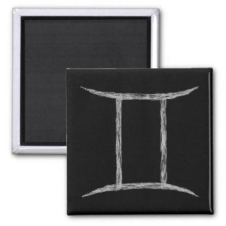 Gemini. Zodiac Astrology Sign. Black. Square Magnet