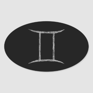 Gemini. Zodiac Astrology Sign. Black. Oval Sticker