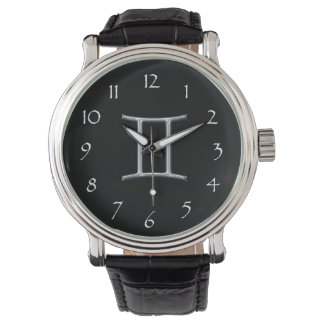 Gemini Zodiac-Black with Silver Horoscope Sign Watch